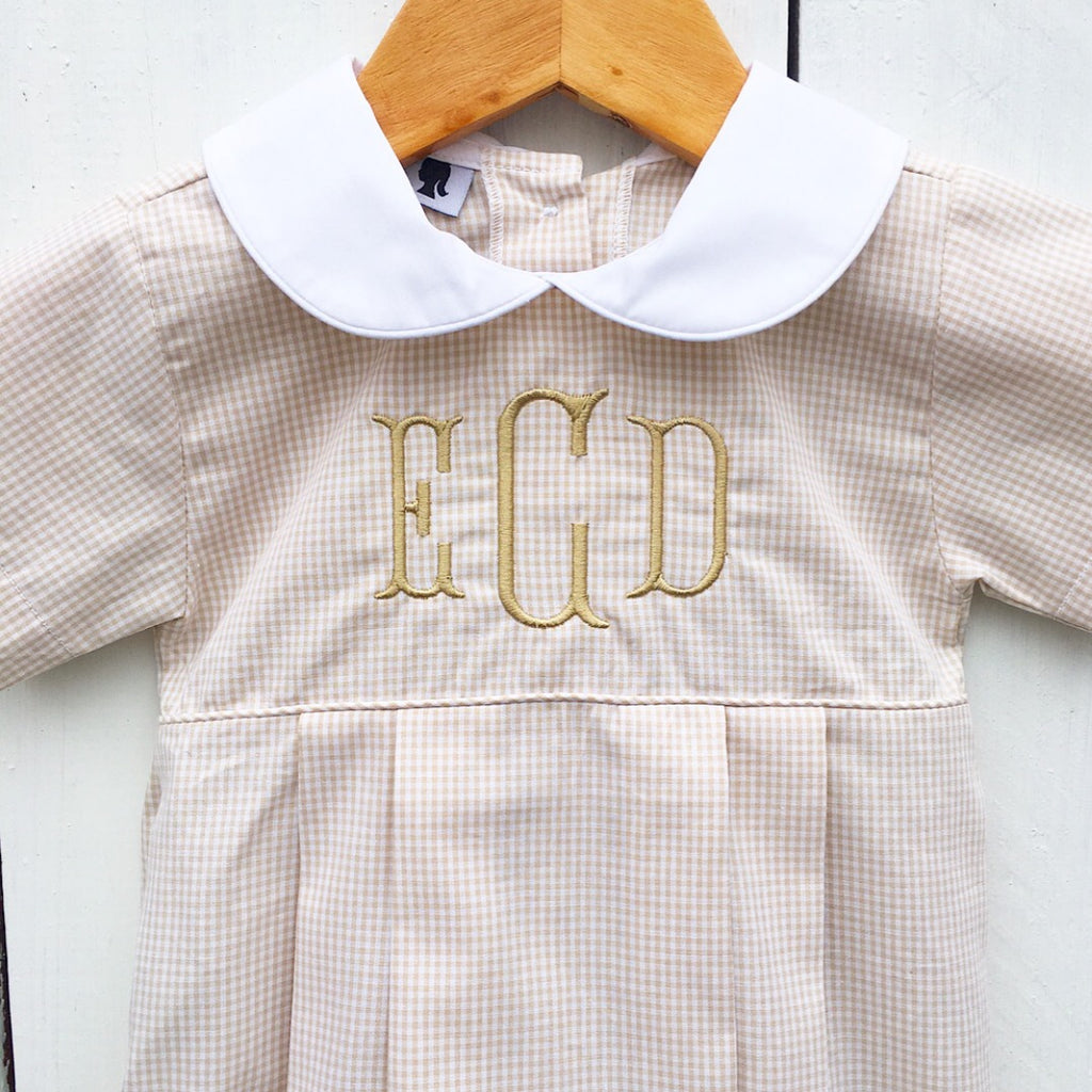 Boys Monogram Bubble Khaki Tan Gingham Peter Pan Collar