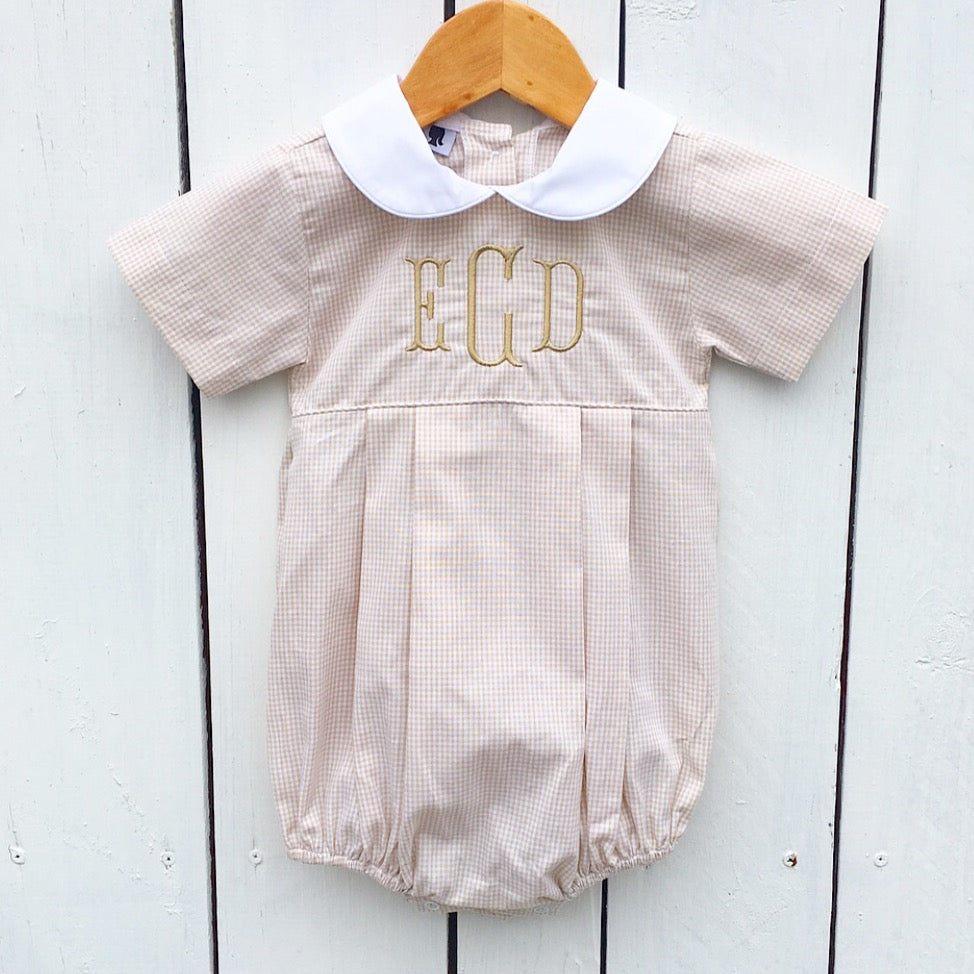 Infant Baby Toddler Boy Tan Khaki Gingham Bubble Jon Jon Outfit
