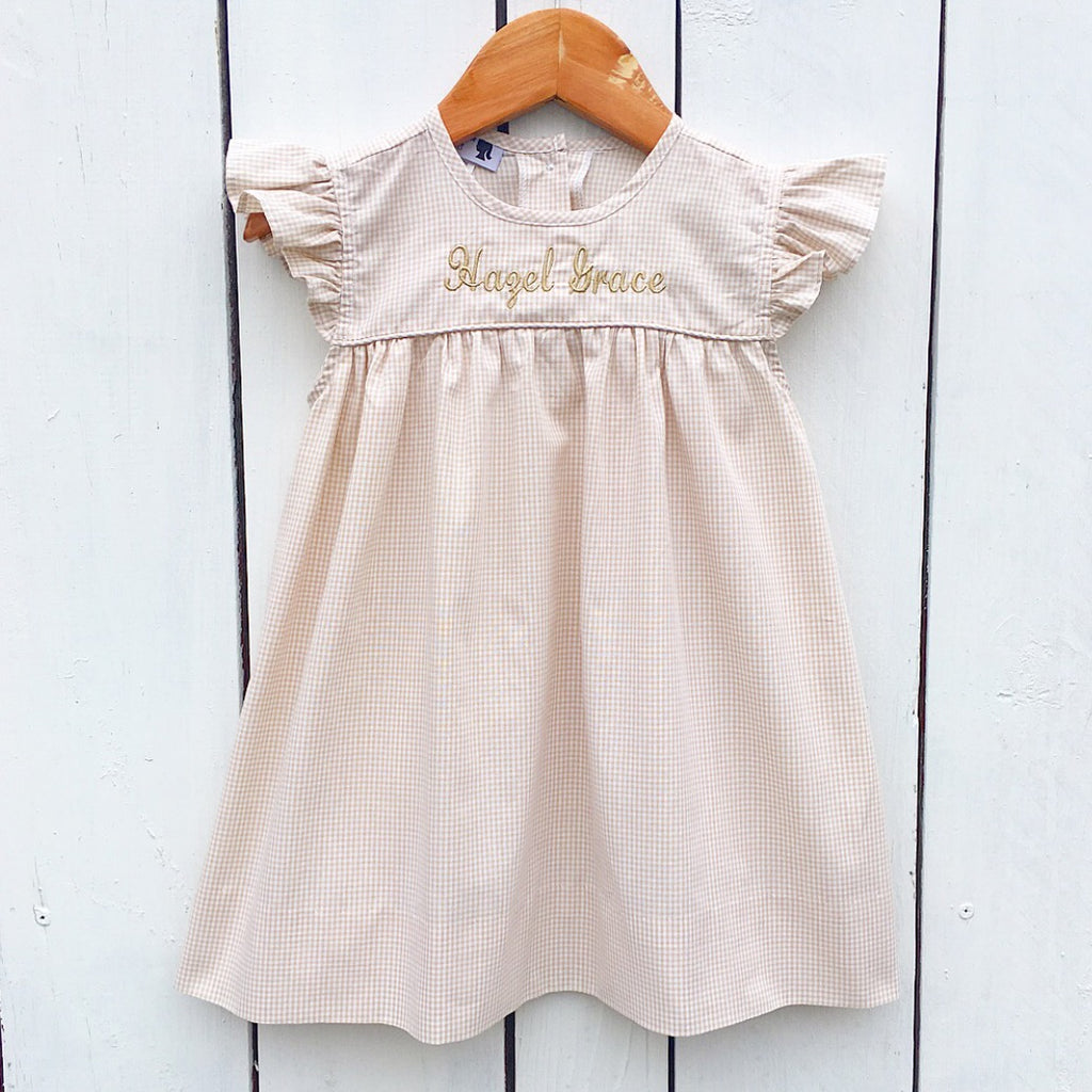 Infant Baby Toddler Girl Khaki Gingham Flutter Sleeve Dress Float Dress Tan Sand Gingham