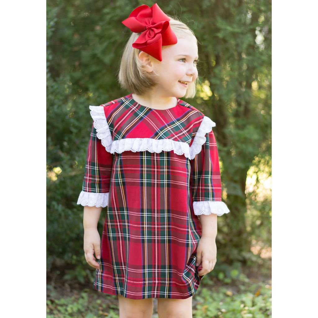 Girls Vintage Length Christmas Dress Red Plaid White Eyelet Lace