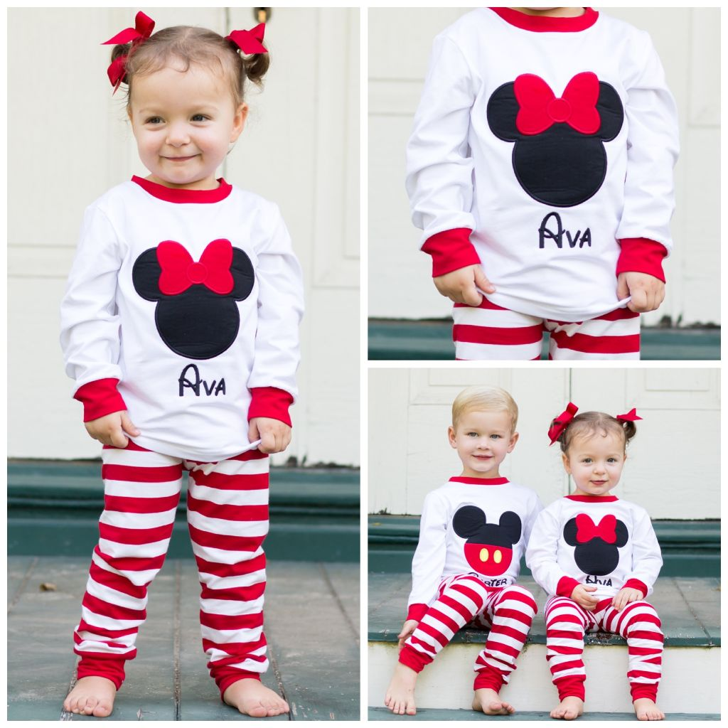 Girls Minnie Mouse Pajamas Monogrammed Name