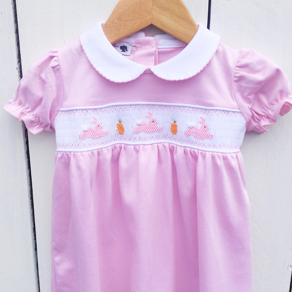 Smocked Easter Bunny Dress Set Pima Cotton Girls
