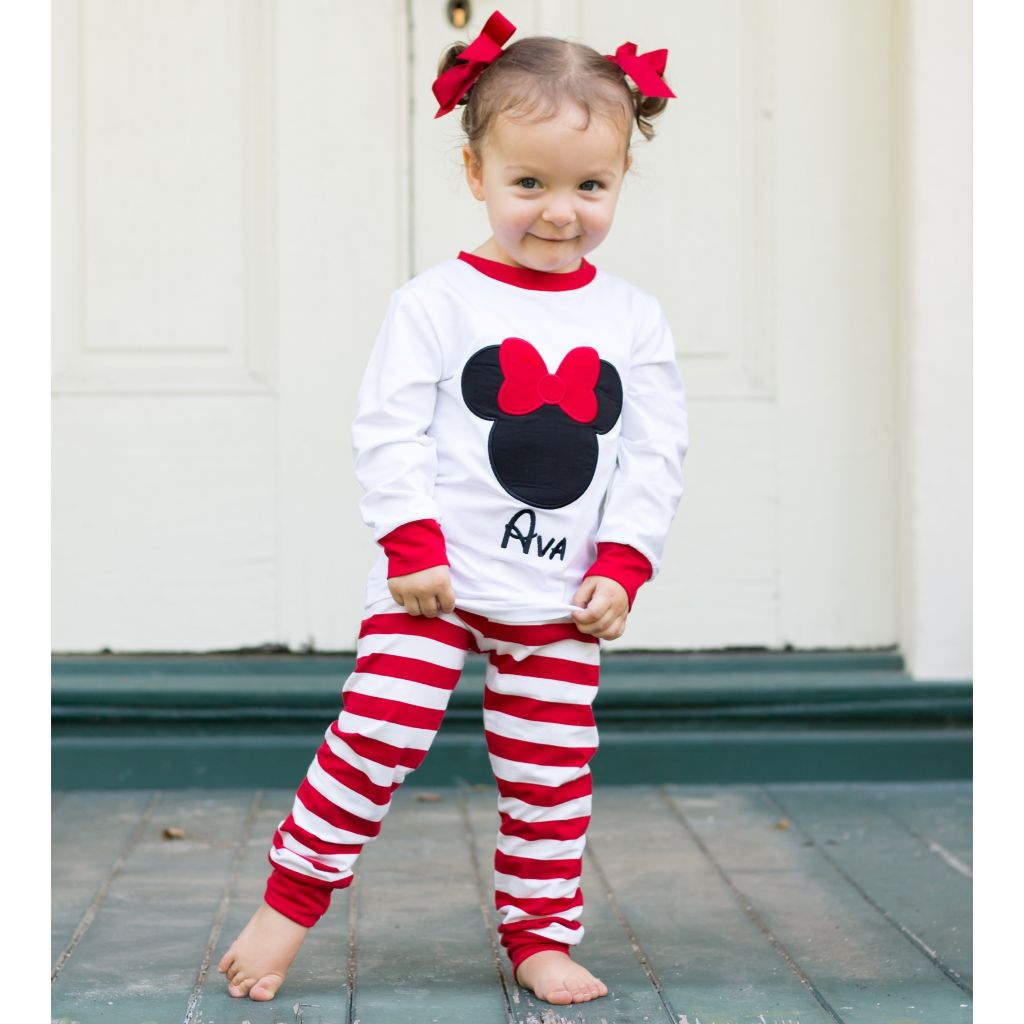 Monogrammed Minnie Mouse Pajamas for Girls
