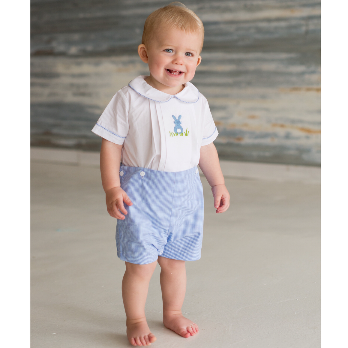 Embroidered Bunny Button-On Shorts Set
