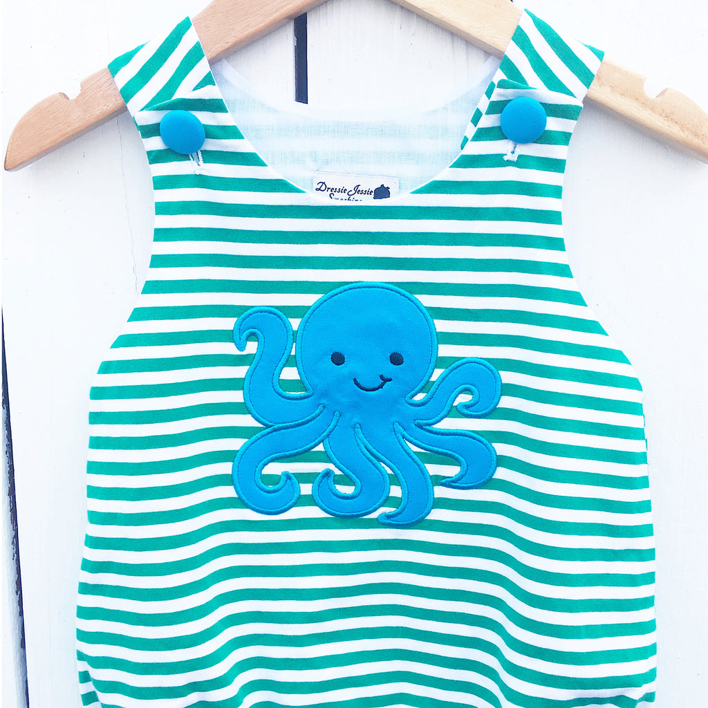 Octopus Applique Boys Outfit Bubble Romper Jon-Jon Knit