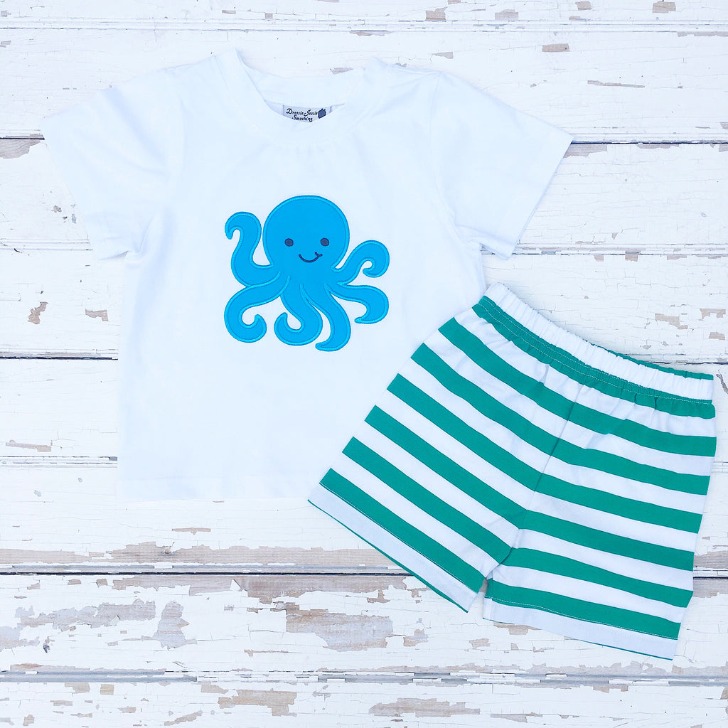 Boys Octopus Shirt Short Set Outfit