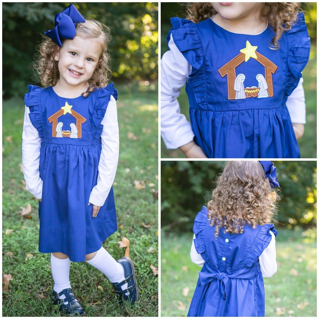 Girls Smocked Nativity Dress Applique Christmas