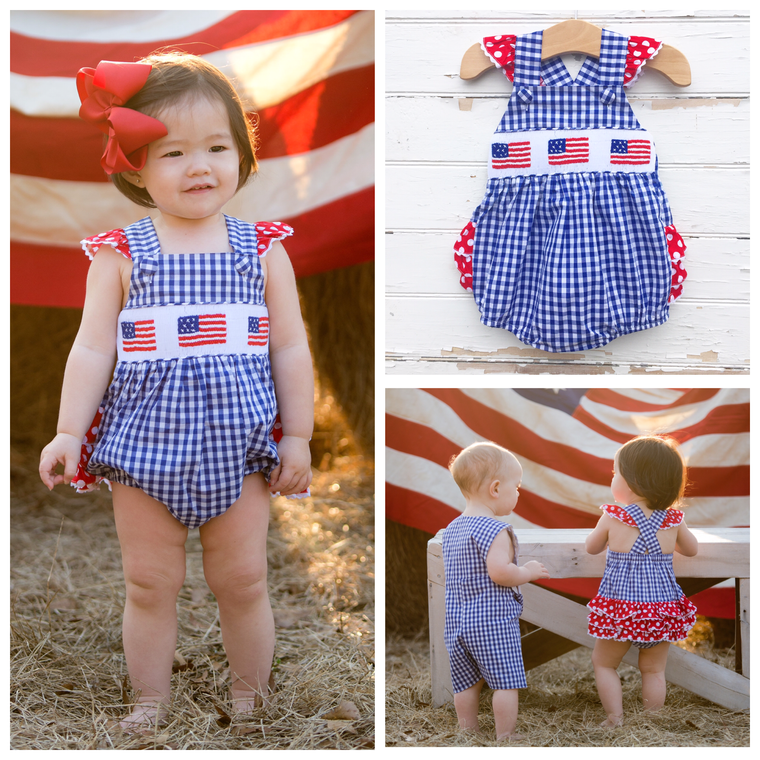 Navy Gingham Smocked Flag Bubble