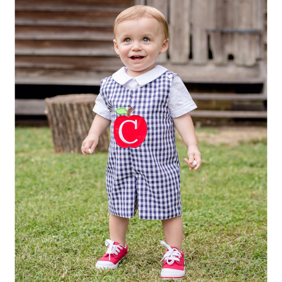 Baby Toddler Boys Apple Jon Jon Shortall Navy Gingham