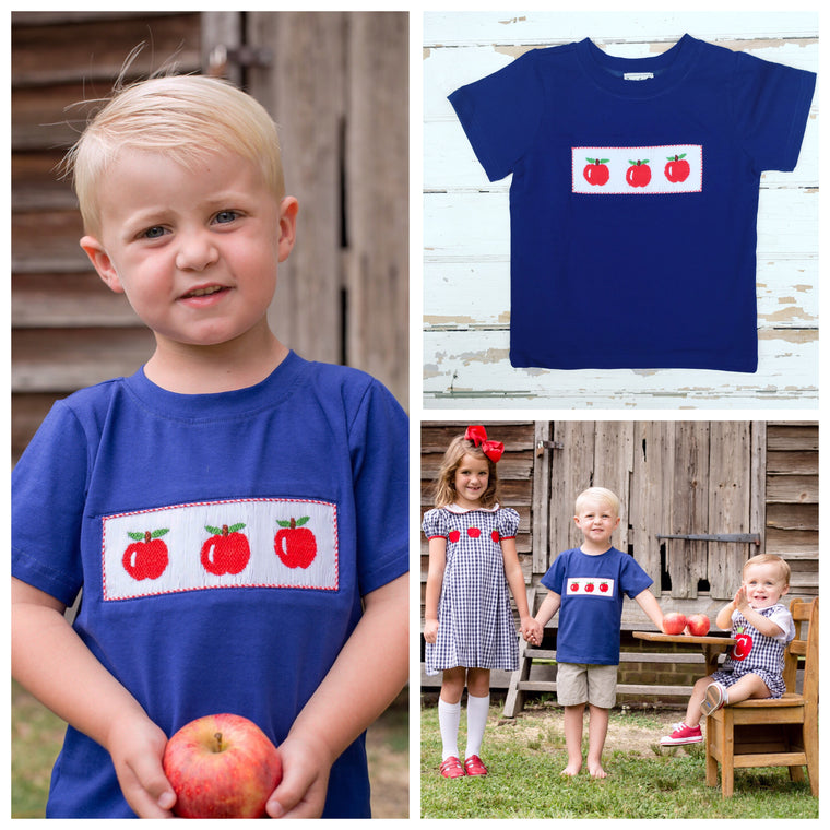 Navy Smocked Apple Shirt