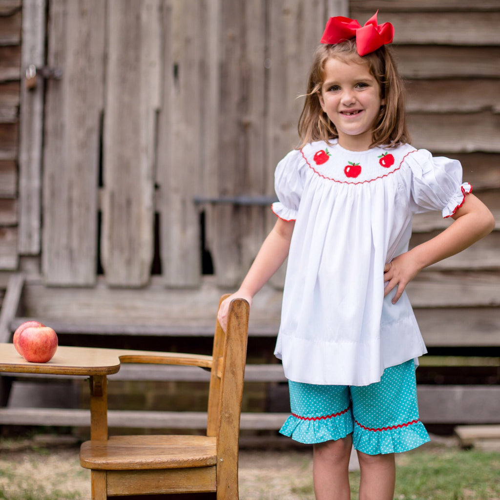 Smocked Apple Bishop Top and Ruffled Shorts Set for Girls