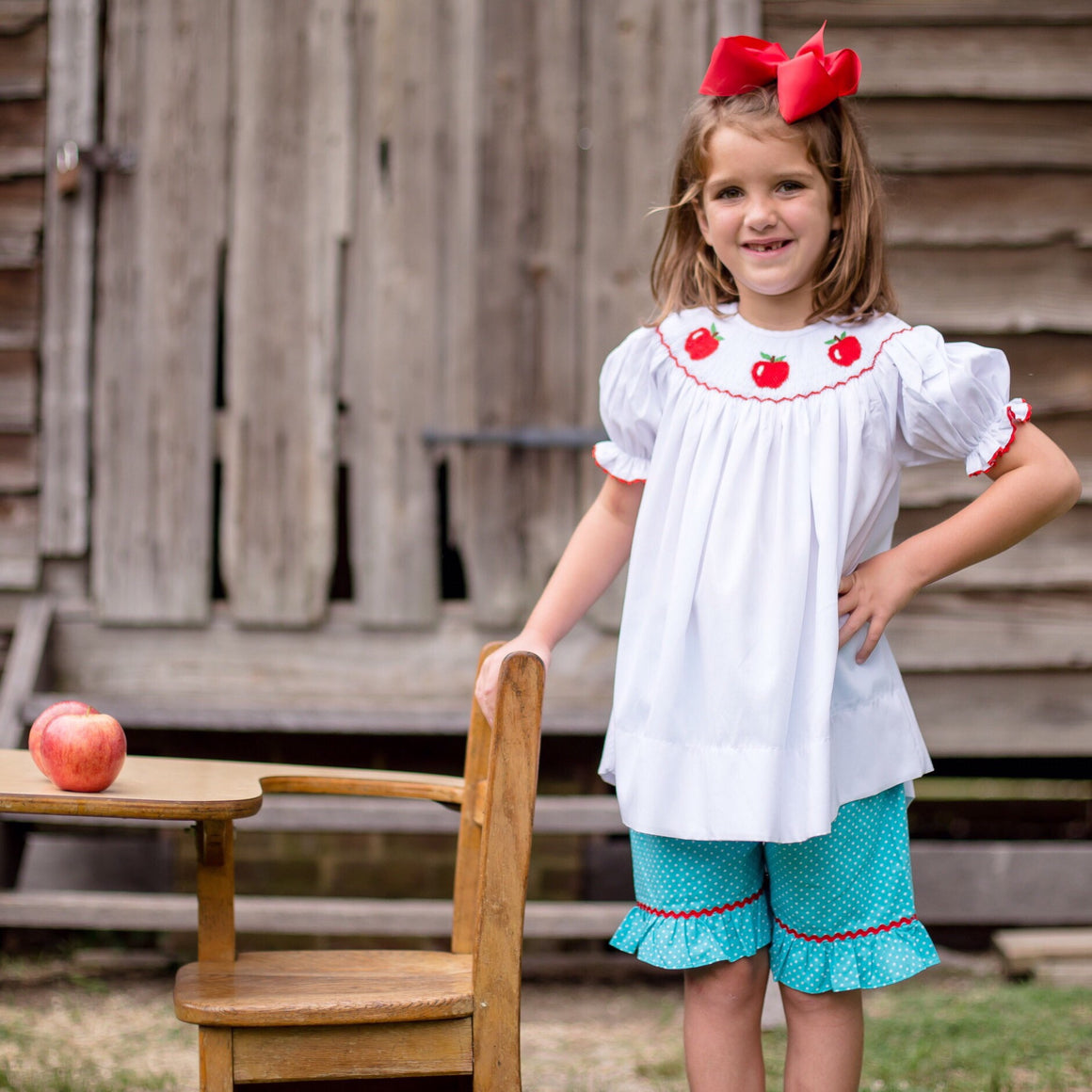 Smocked Apple Dot Short Set