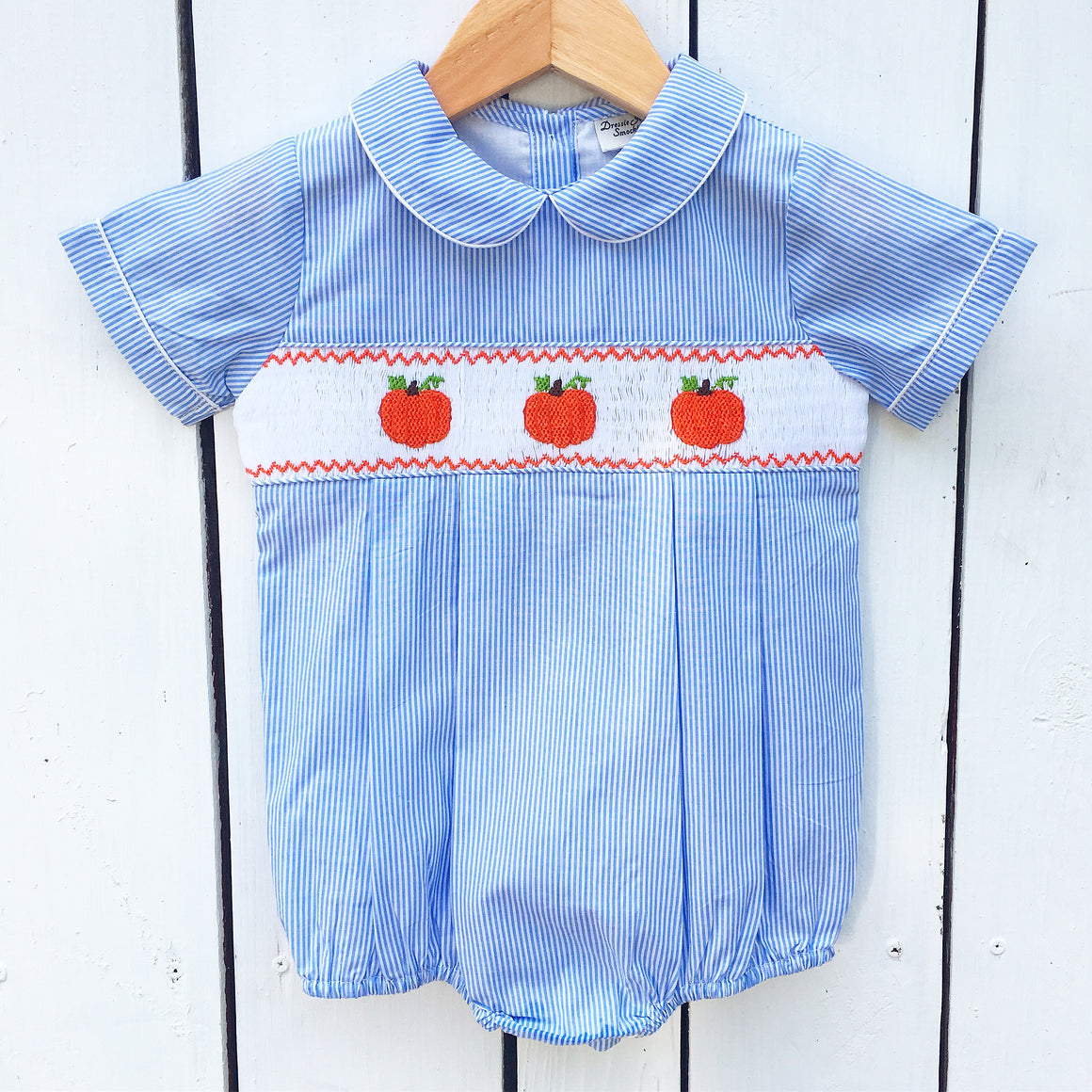 Boys Blue Short Sleeve Bubble with Smocked Pumpkins
