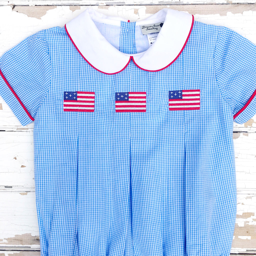Baby Boys Embroidered Flag Bubble Blue Gingham Romper Outfit July 4th Red White Blue