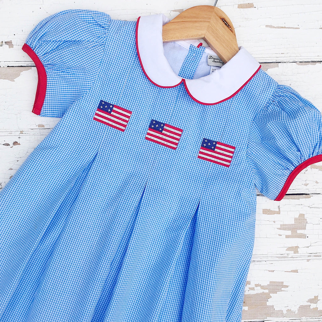 Girls July 4th Clothing Dress Classic Southern Flag Embroidery Pleat Dress