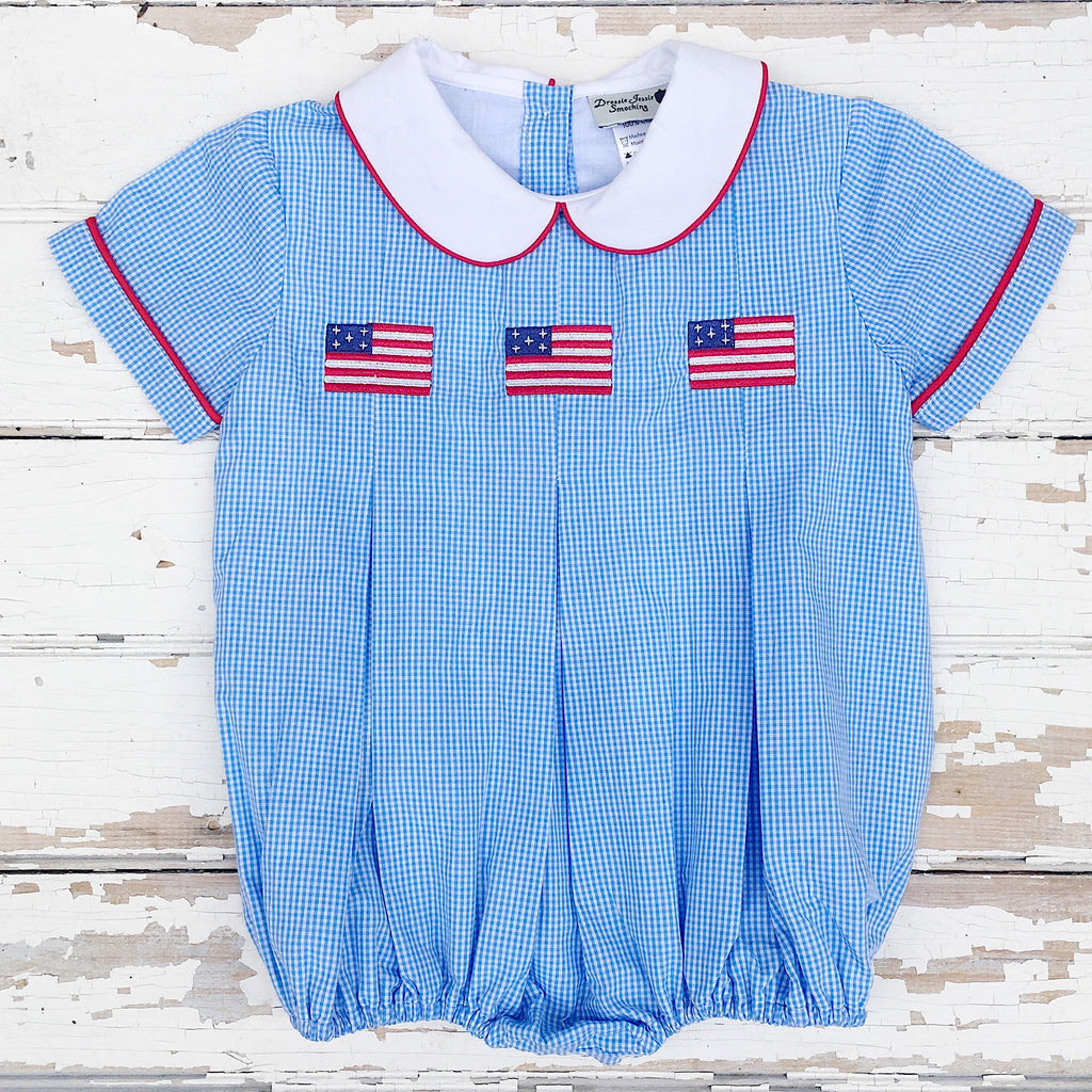 Infant Baby Toddler Boy Flag Bubble July 4th Romper Outfit Classic Southern