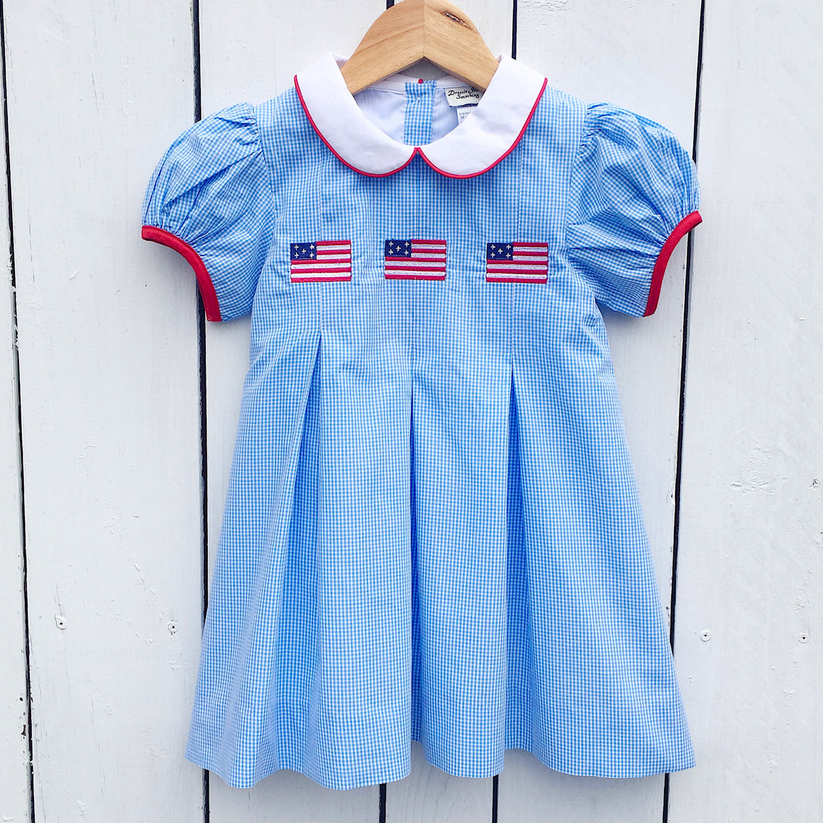 Girls Embroidered Flag Pleat Dress Pleated Blue Gingham Dress Peter Pan Collar