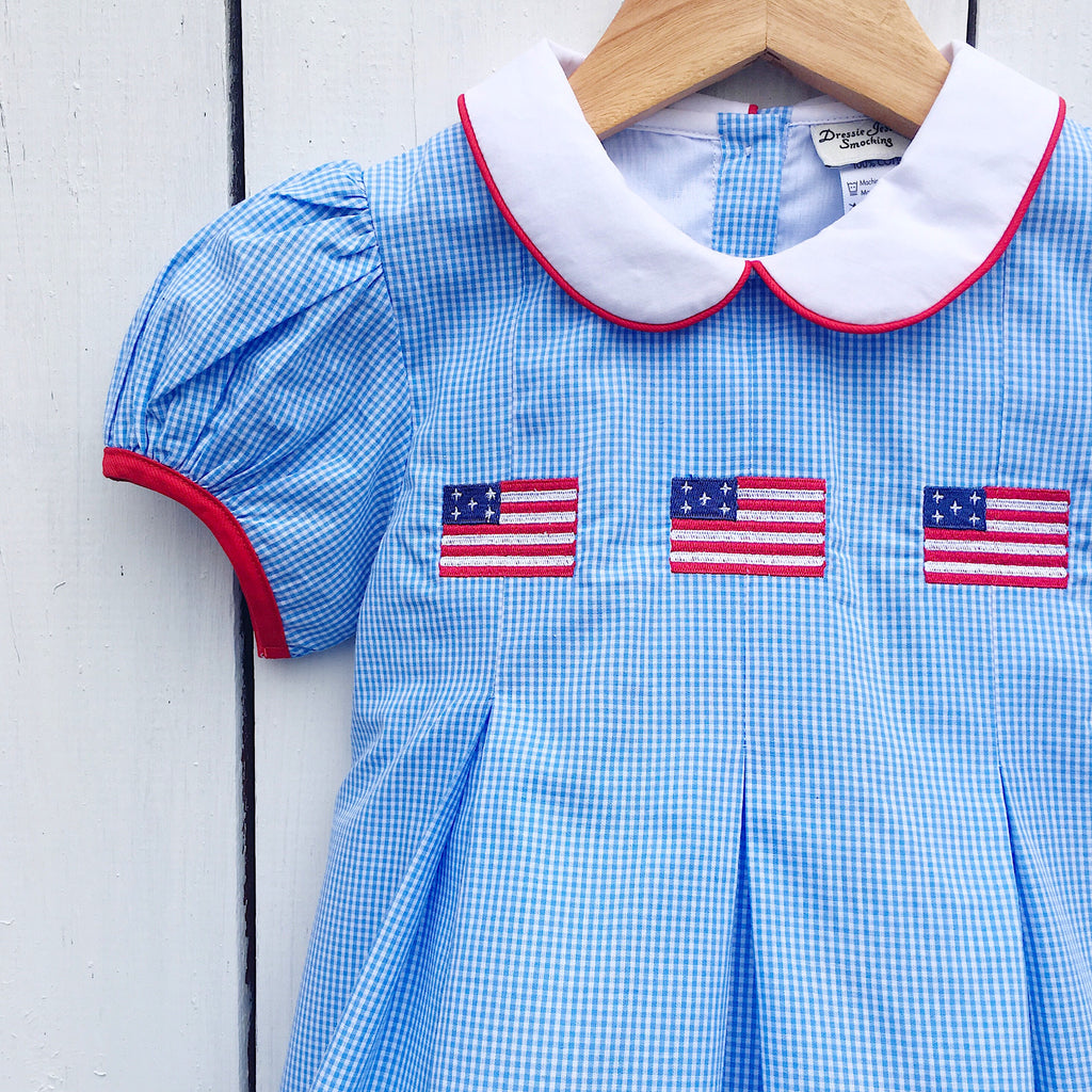 Embroidered Flags Girls Dress July 4th Red White and Blue