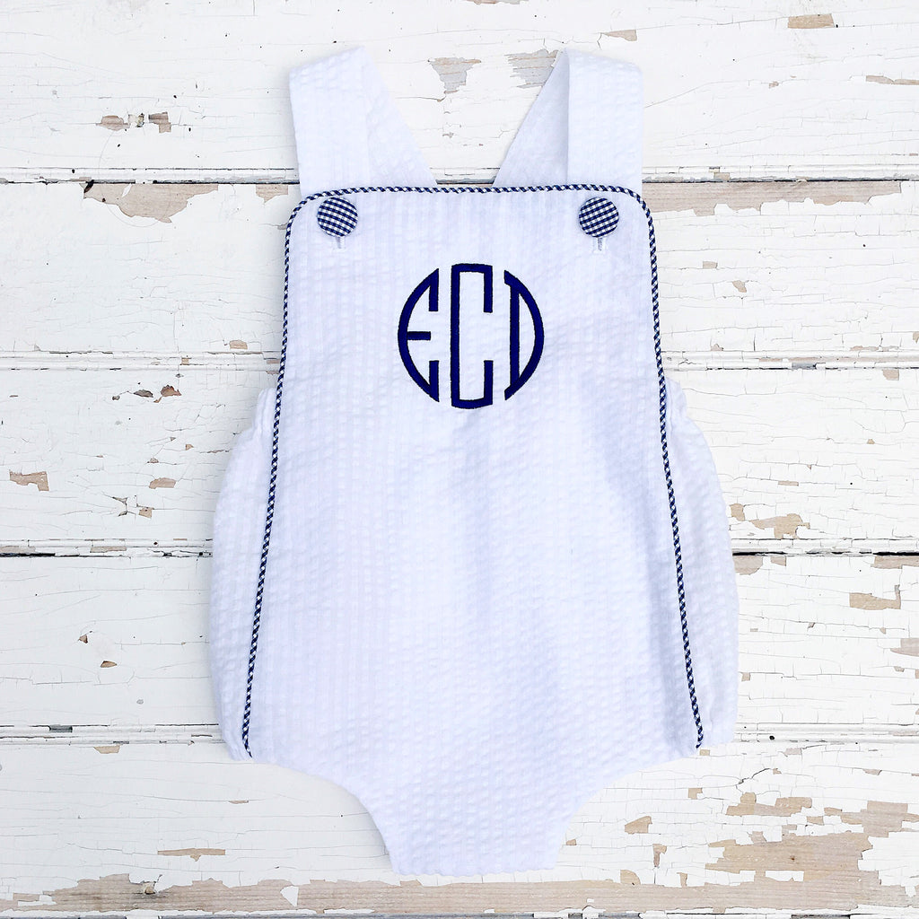 Infant Baby Toddler Boys White Seersucker Bubble Outfit Navy Monogram