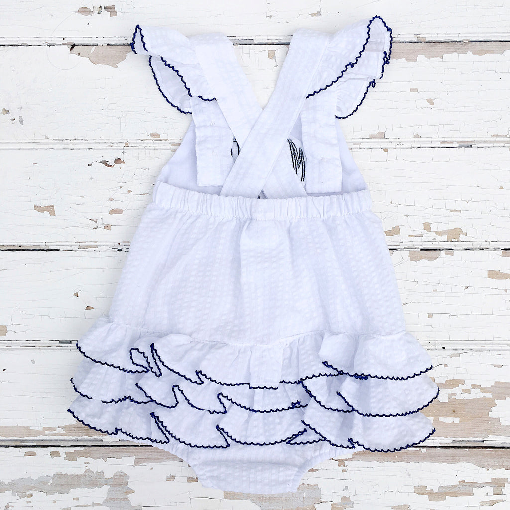 Infant Baby Toddler Girl White Seersucker Bubble Beach Outfit Free Monogram
