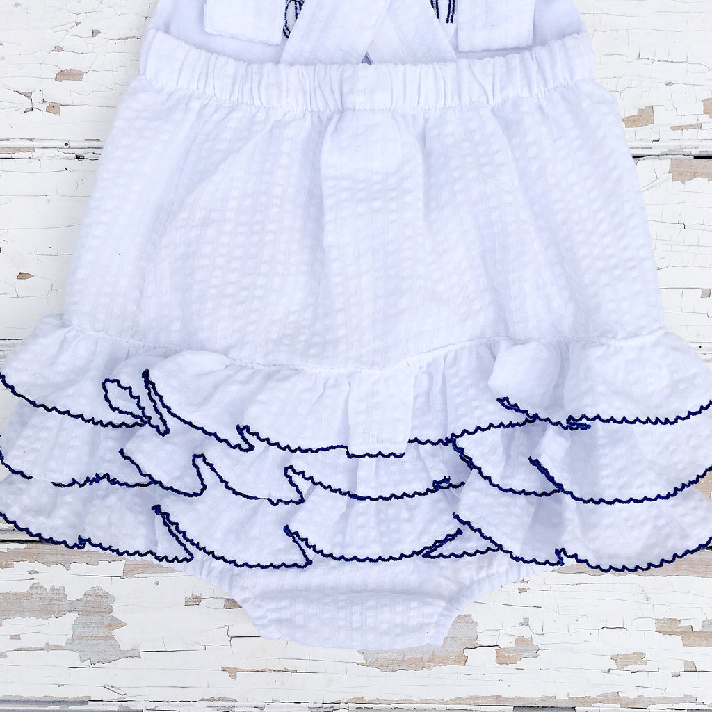 Baby Girls White and Navy Ruffled Bum Bubble Romper Sunsuit