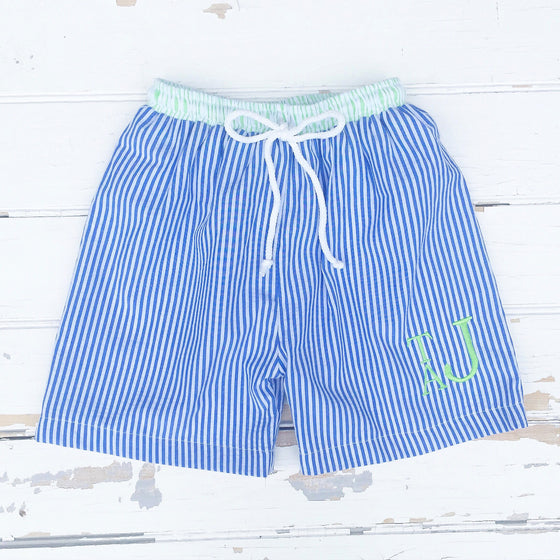 Boys Seersucker Swim Trunks - Dressie Jessie Smocking