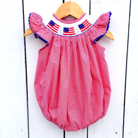 Infant Baby Toddler Girls Smocked Clothing Smocked Flag Bubble July 4th