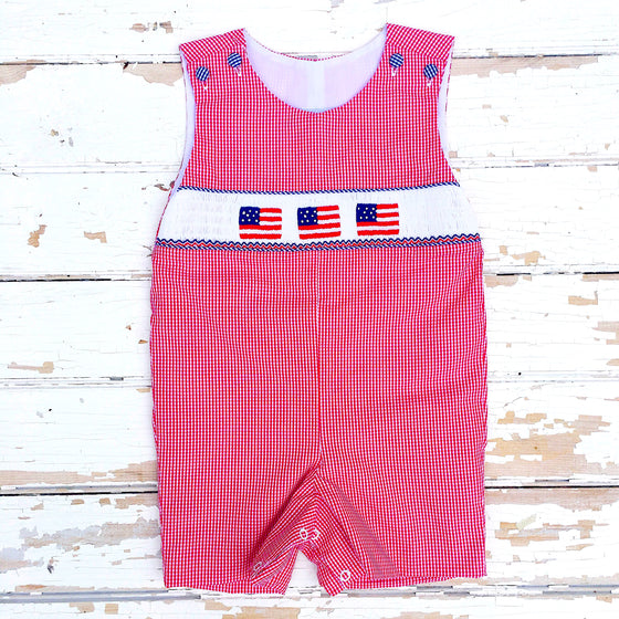 Smocked Flag Shortall Infant Baby Toddler Boys Smocked Clothing July 4th
