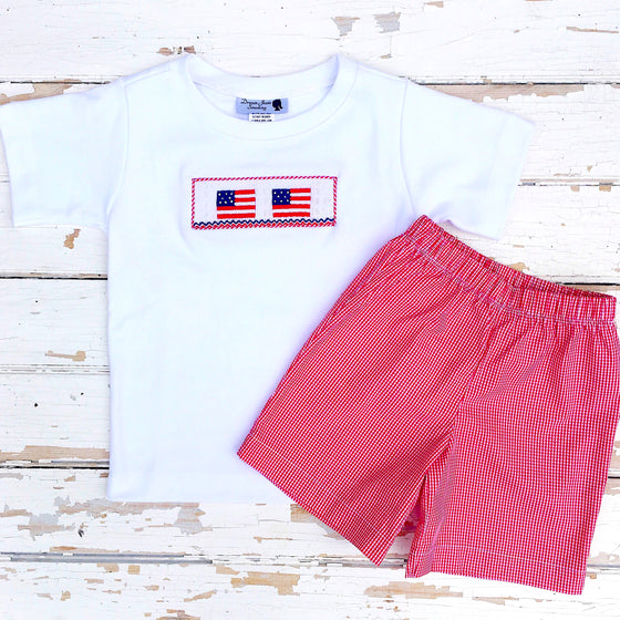 Smocked Boys Flag Shirt and Shorts Set American Flag Boys Smocking