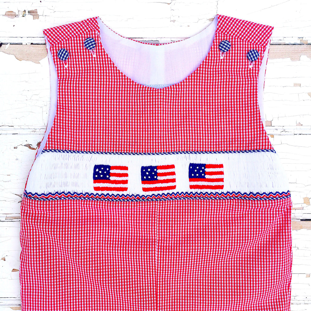 Smocked American Flag Clothing Shortall Outfit Flags Smocking