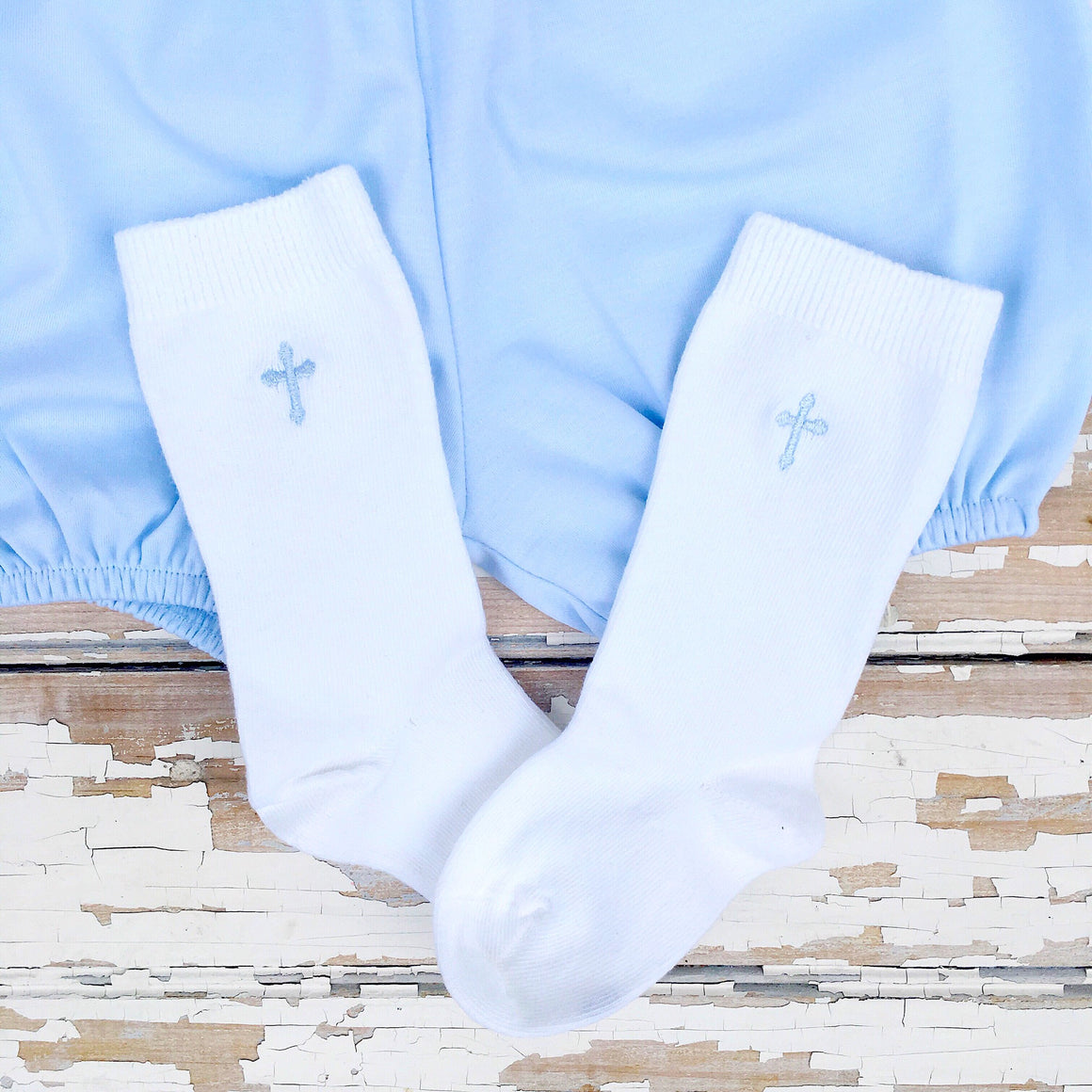 White Knee Socks Embroidered Cross Knee Socks for Boys