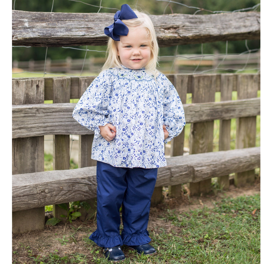 Smocked Floral Bishop Top and Blue Pants Set