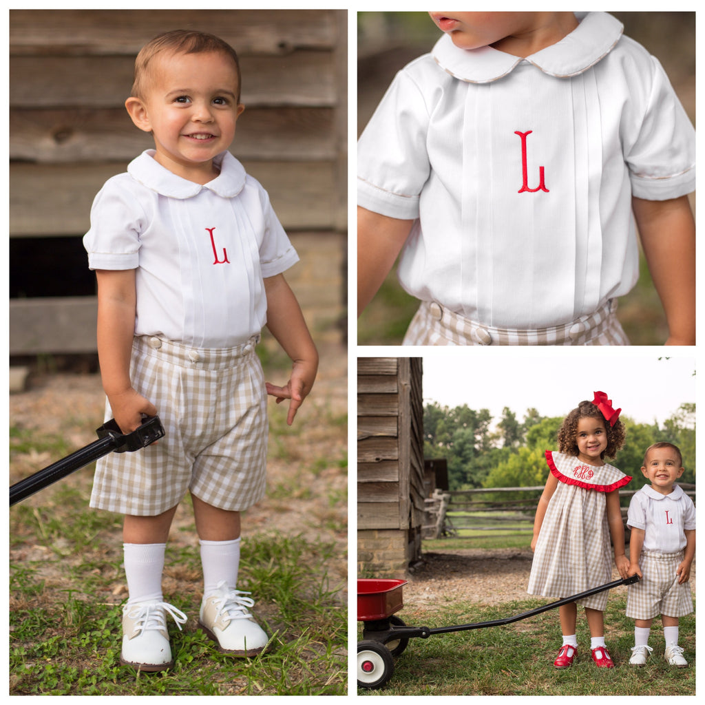 Boys Button-On Short Set with White Monogrammed Top and Khaki Gingham Shorts