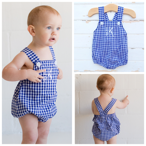 Boys Blue Check Sun Bubble - Dressie Jessie Smocking