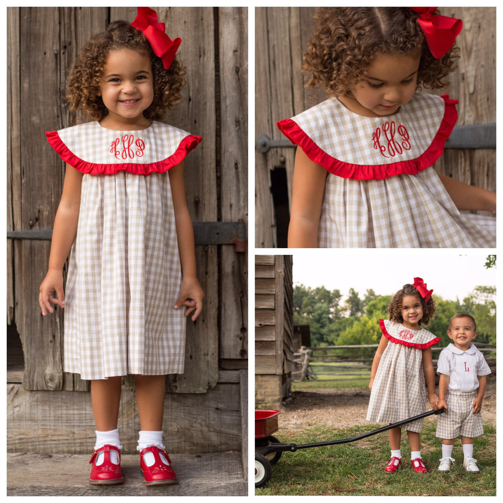 Khaki Gingham Monogrammed Float Dress with Red Ruffle