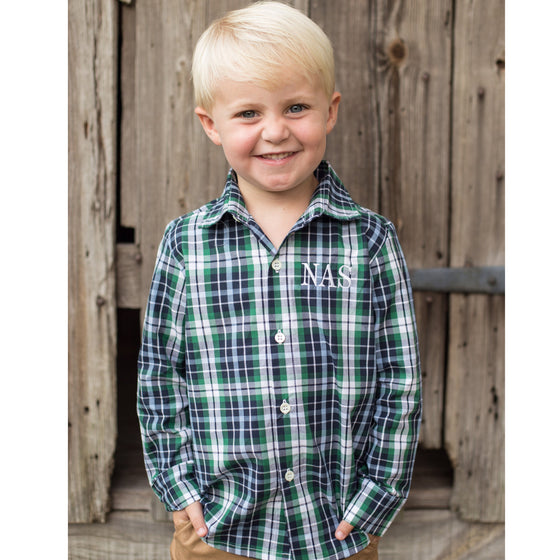 Boys Blue Green and White Plaid Monogrammed Button Front Shirt