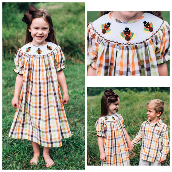 Orange and Brown Fall Plaid Smocked Thanksgiving Turkey Bishop Dress