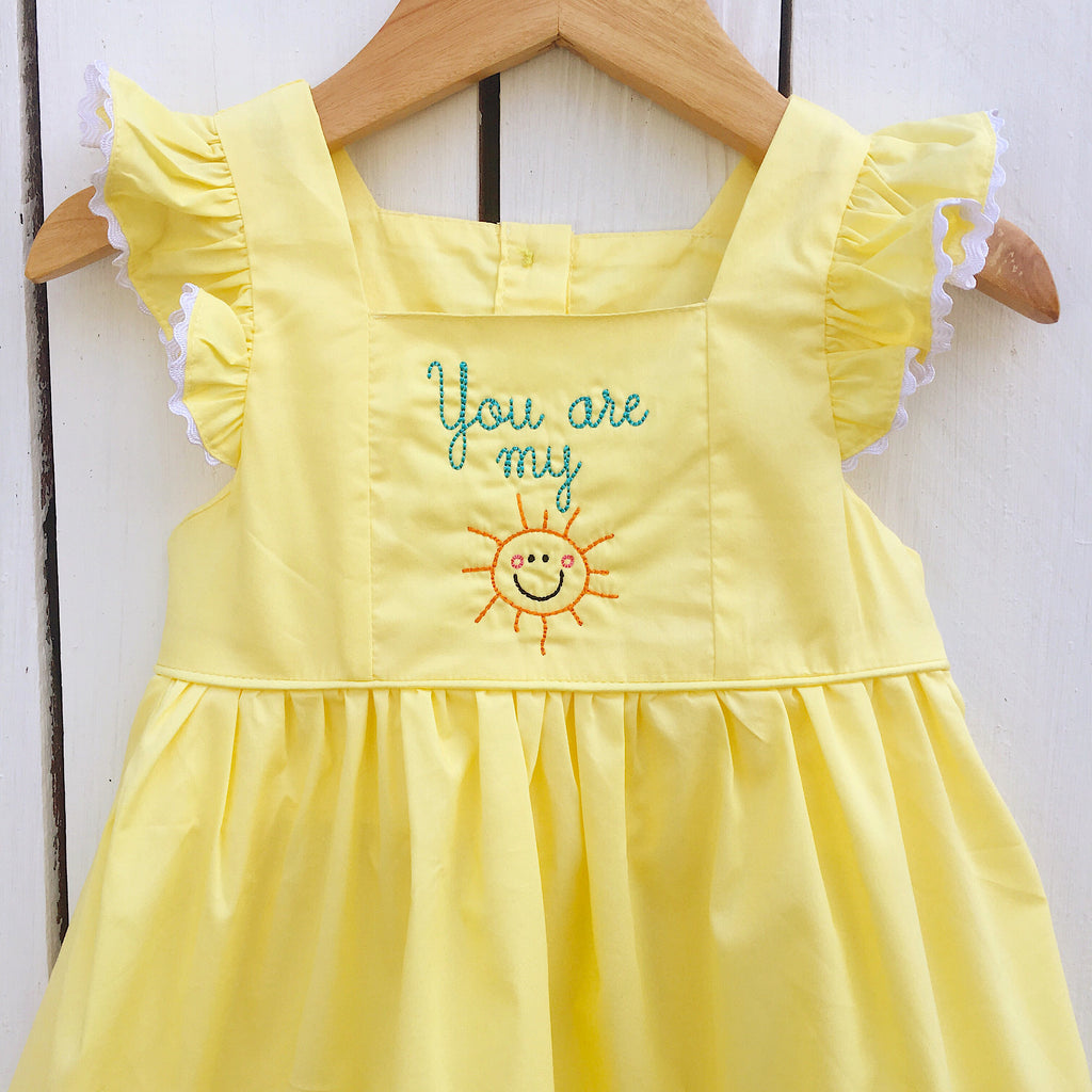 You are My Sunshine Embroidery Yellow Summer Dress for Girls