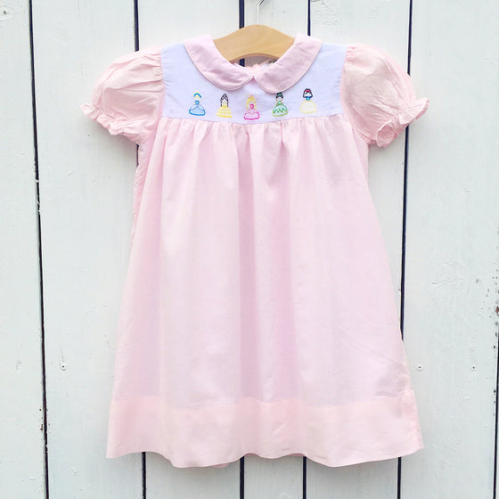 Girls Shadow Embroidery Disney Princess Dress Pastel Pink Princesses