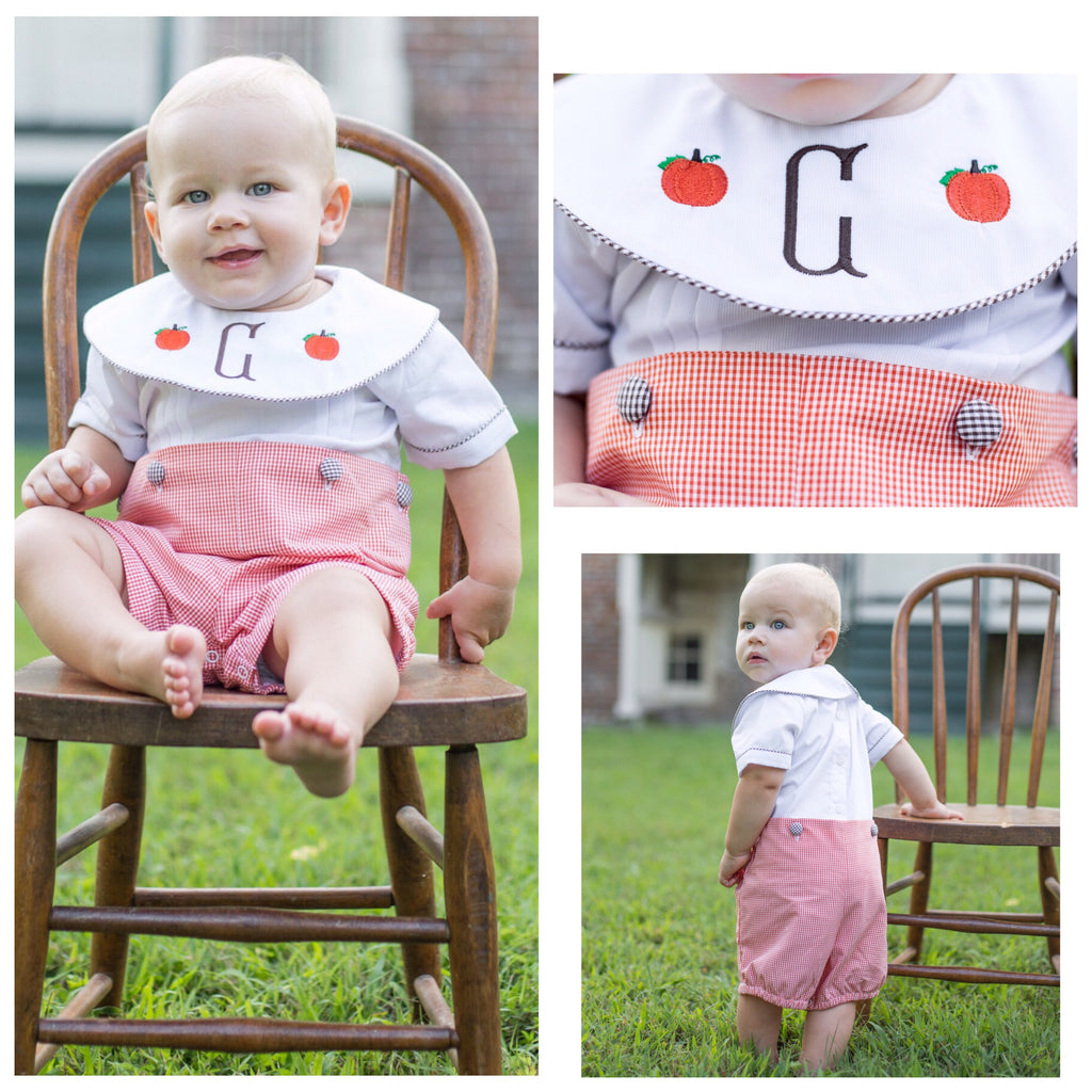 Baby Infant Toddler Boys Orange Gingham Pumpkin Button On Short Set