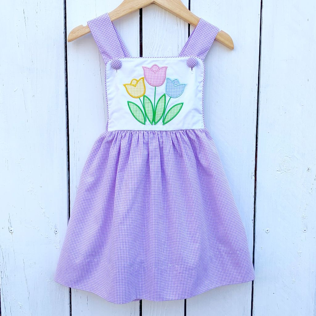 Girls Vintage Tulip Applique Dress Sundress