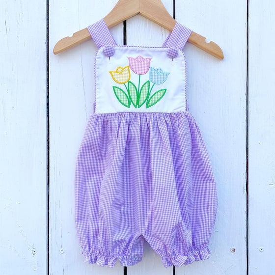Girls Vintage Sun Bubble Romper with Tulips