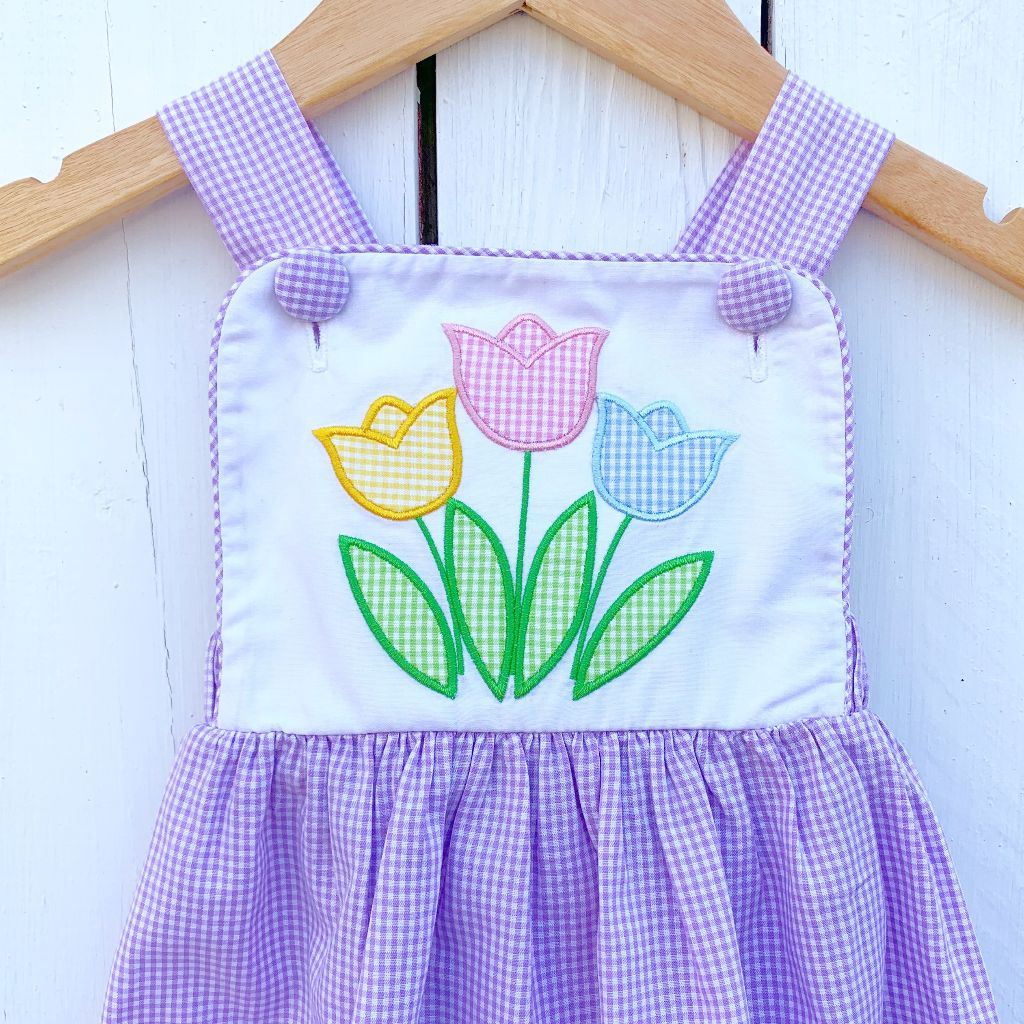 Baby Toddler Girl Vintage Gingham Tulip Sun Bubble