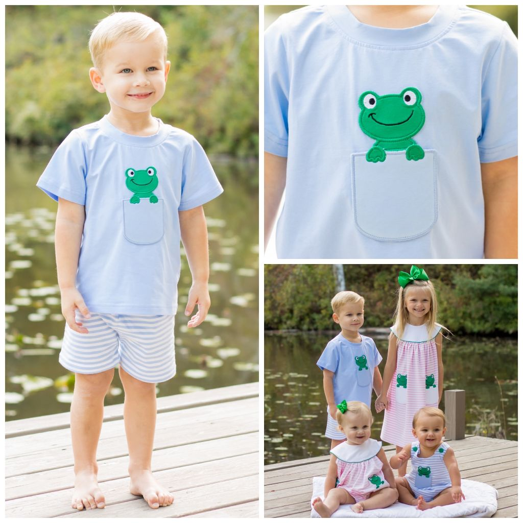 Peek-A-Boo Frog Knit Short Set