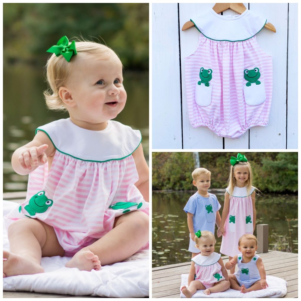 Peek-A-Boo Frog Pink Stripe Knit Bubble