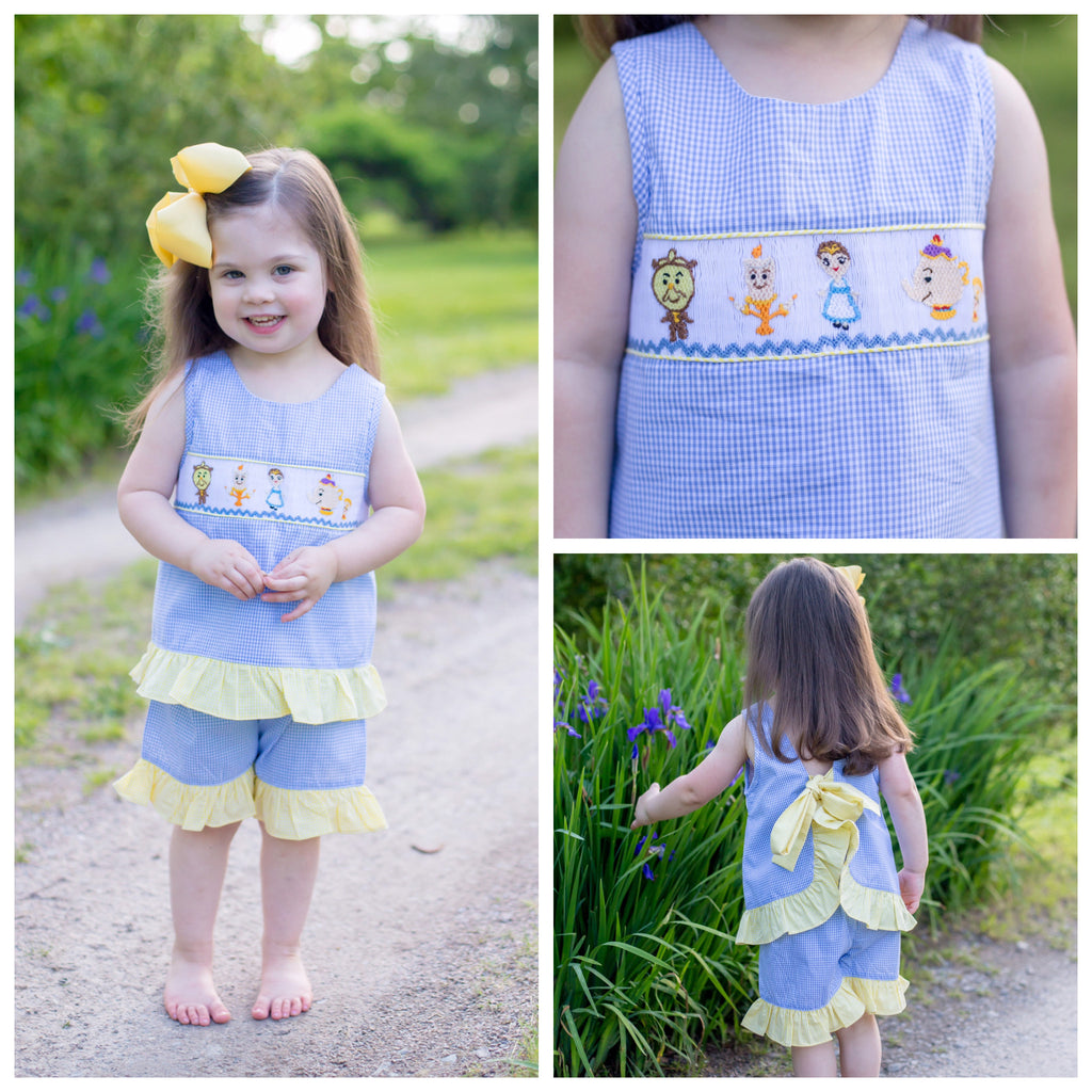Disney Smocked Beauty and the Beast Belle Outfit