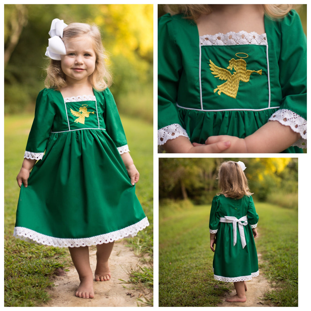Girls Christmas Dress Gold Angel Embroidery Boutique Quality