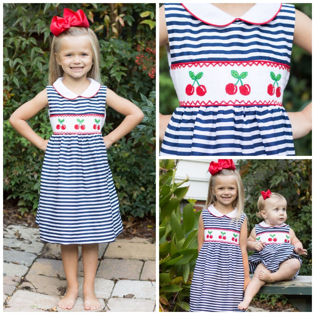 Girls Smocked Cherry Dress