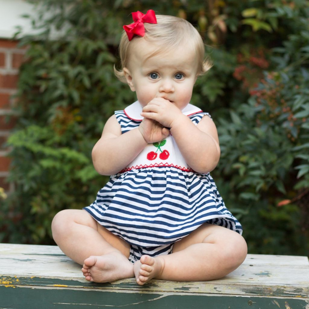 Girls Smocked Cherries Bubble Romper Outfit