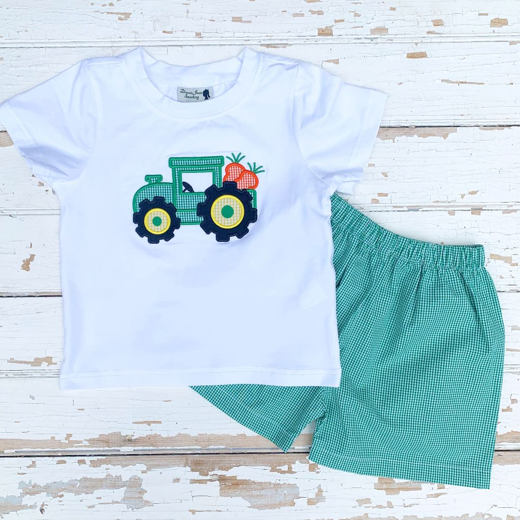 Boys Easter Tractor Applique Shirt and Shorts Set